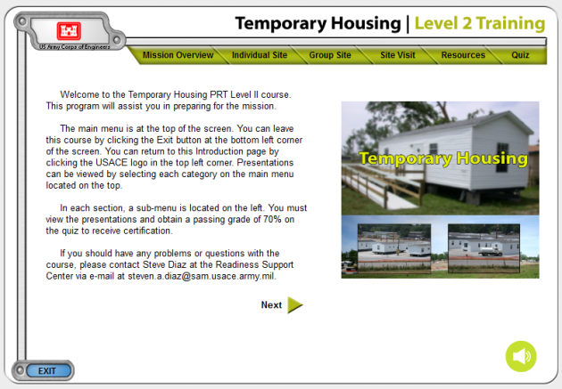Temporary Housing Training